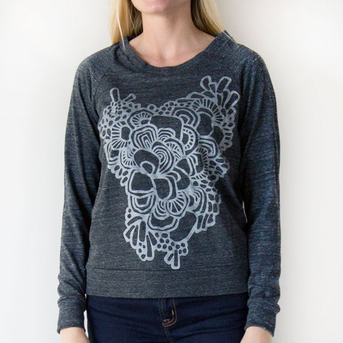 Ladies Swirls Sweatshirt Charcoal