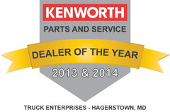 Truck Enterprises Hagerstown Kenworth Parts & Service Dealer of the Year 2013 & 2014