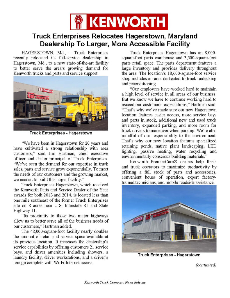 Kenworth Press Release - TEI Hagerstown Move