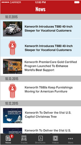 Kenworth Trucks Mobile App Screenshot