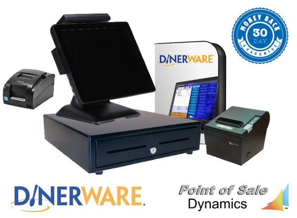 All-in-One Restaurant Point of Sale System Bundle W/ Kitchen Printer  Featuring Dinerware POS