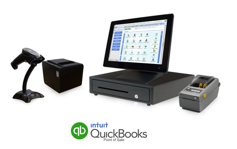All in One Retail Point of Sale Bundle Featuring QuickBooks POS V18 Professional - Silver