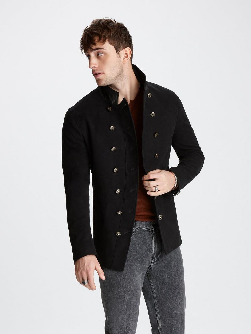 Double Breasted Cut Away Blazer