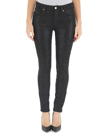 7 For All Mankind - Mid Rise Skinny in Black Floral