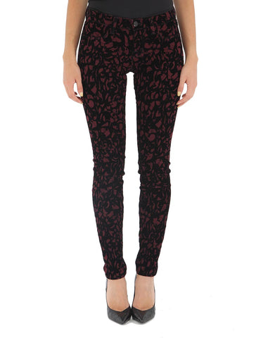 J Brand - Mid Rise Super Skinny in Mulberry Brocade