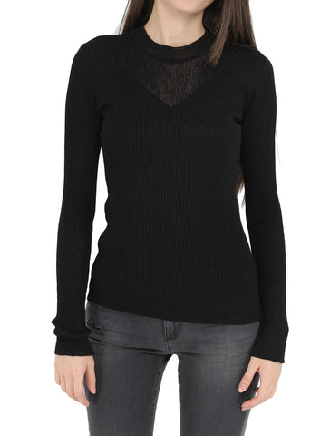 Round Neck Thin Ribbed Knit Top - ACHRO