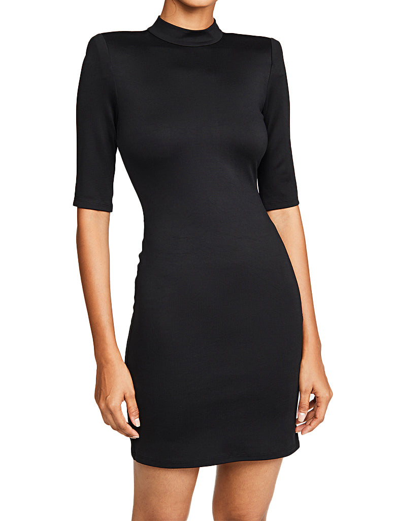 Inka Strong Shoulder Mock Neck Dress - ALICE AND OLIVIA