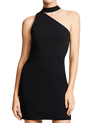 Skyla Mock Neck One Shoulder Dress - ALICE AND OLIVIA