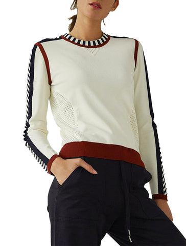 Athletic Crew With Mesh Detail - AUTUMN CASHMERE