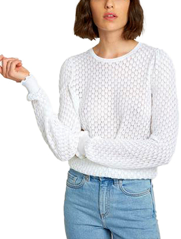 Leaf Pointelle Bishop Sleeve Crew - AUTUMN CASHMERE