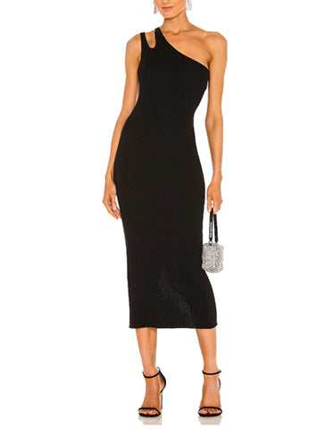 Slash One Shoulder Rib Midi Dress - AUTUMN CASHMERE