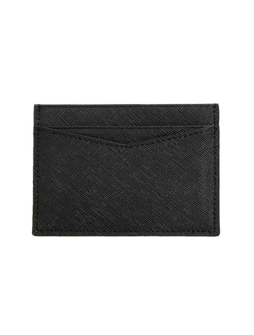 Saffiano Leather Card Holder in Black - GRAFIC