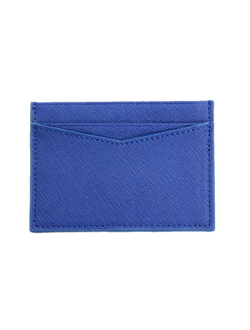 Saffiano Leather Card Holder in Blue - GRAFIC