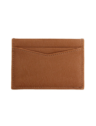Saffiano Leather Card Holder in Brown - GRAFIC