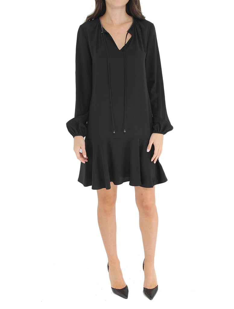 Cinched Sleeve Keyhole Dress - DIANE VON FURSTENBERG