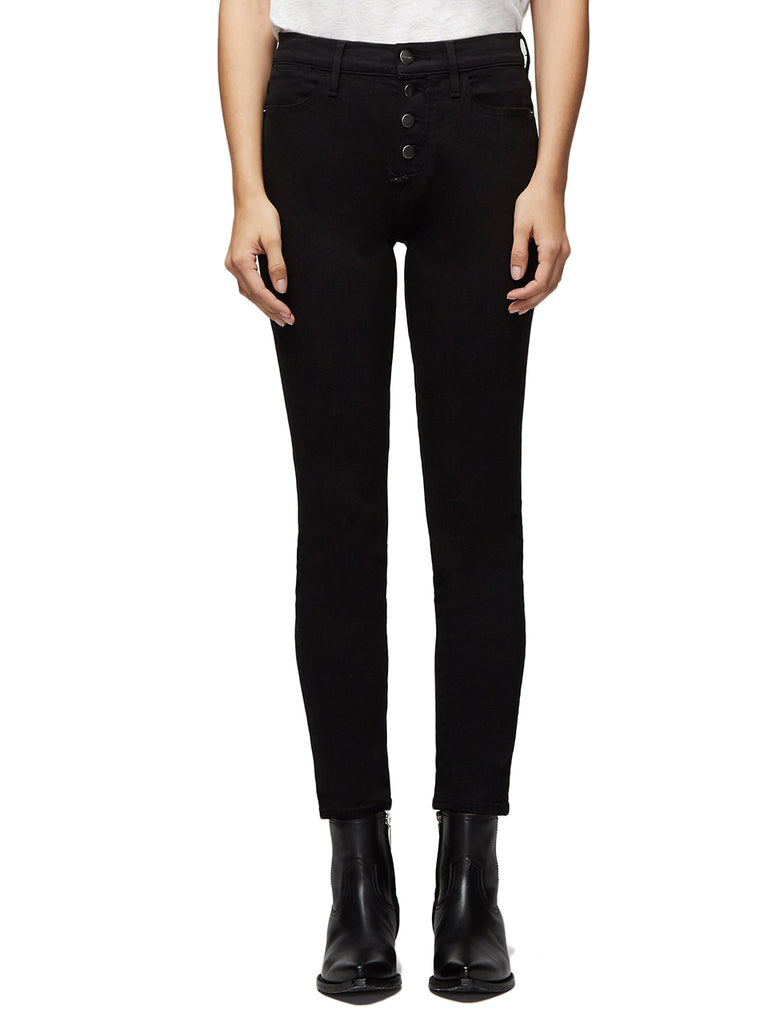 Le High Skinny Button Fly in Noir Street - FRAME