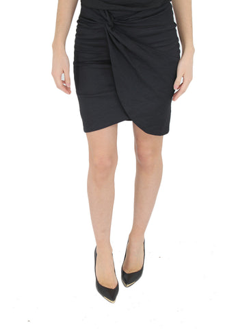 Cotton Metal Faux Wrap Skirt - NICOLE MILLER