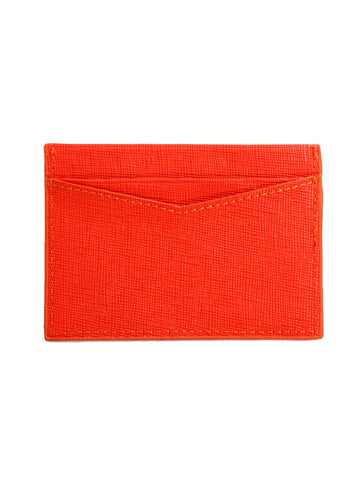 Saffiano Leather Card Holder in Blood Orange - GRAFIC