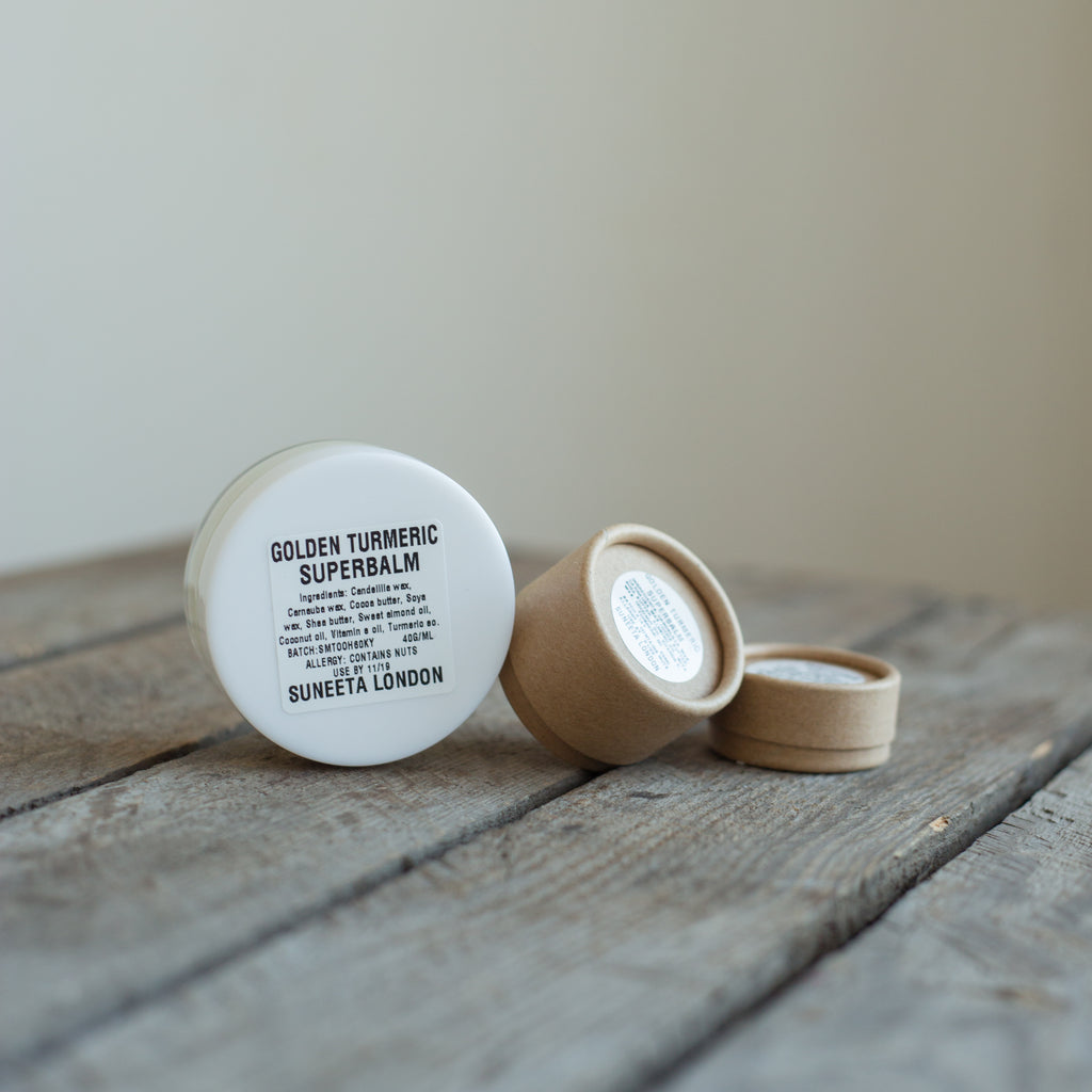 golden turmeric superbalm suneeta cosmetics London eczema zero waste plastic free, superbalm, suneeta superbalm, turmeric balm, turmeric superbalm, sustainable packaging, healing balm, turmeric salve, golden turmeric, eczema balm, eczema cream, psoriasis, dermatitis, hand cream, hand salve, dry skin, cracked skin