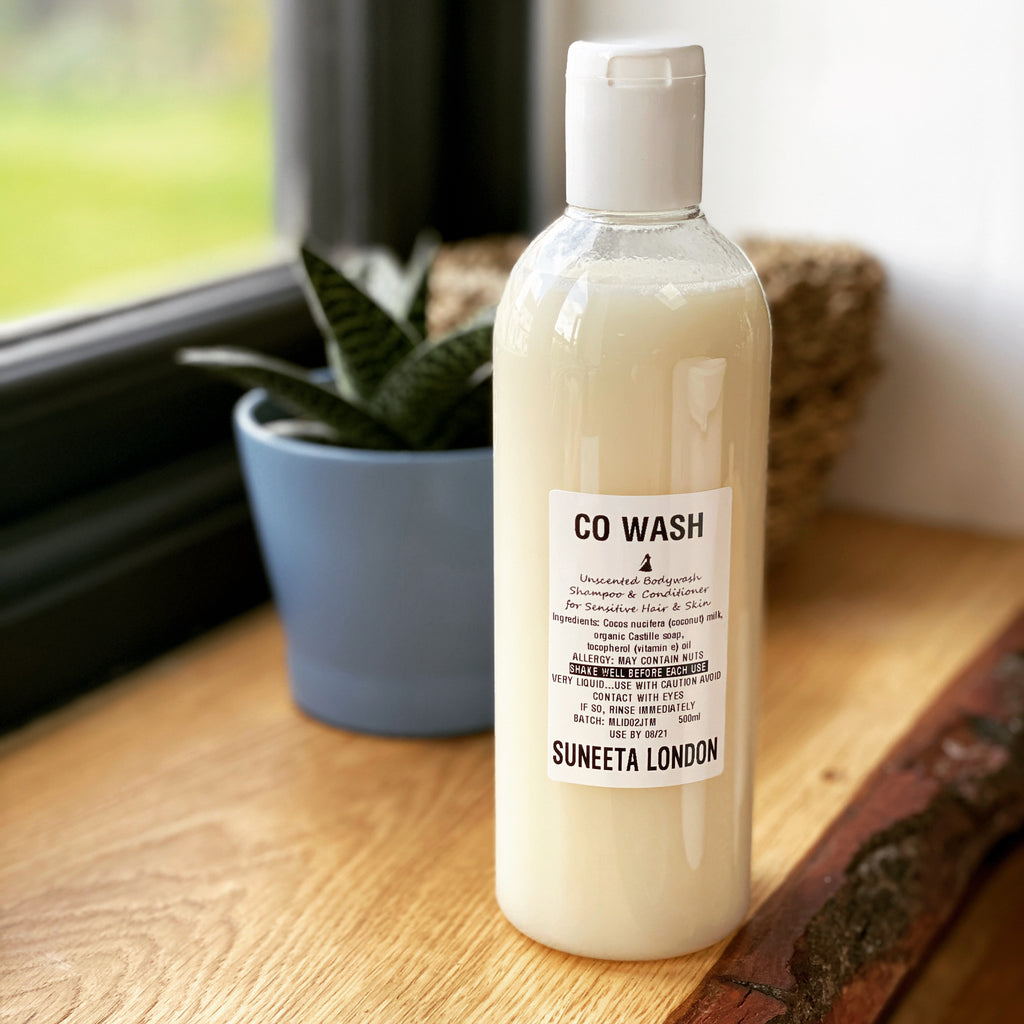 co wash, cowash, shampoo, conditioner, bodywash, suneeta, suneeta London, suneeta cosmetics, suneeta co wash, natural co wash, natural hair wash, natural shampoo, coconut milk shampoo, sensitive skin, gentle shampoo, gentle wash