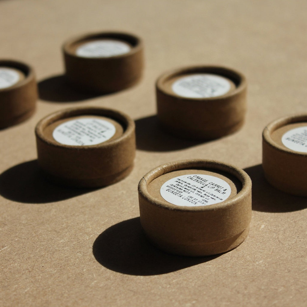 vegan lip balm, natural lip balm, sustainable packaging, cardboard packaging, rosy lip balm, spf lip balm, lip balm, suneeta lip balm, lip salve, peppermint lip balm, plump lips, lavomango, suneeta London, suneeta cosmetics