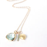 Glass Briolette Cluster Necklace - Gold