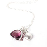 Glass Briolette Cluster Necklace - Silver