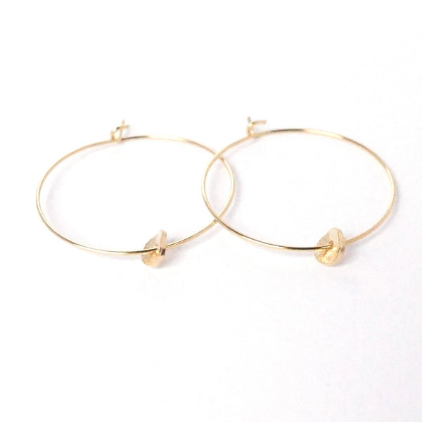 Hoop Earrings with Curved Disk