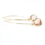 Long Glass Briolette Earrings - Gold