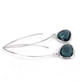 Long Glass Briolette Earrings - Silver