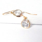 Short Glass Briolette Earrings - Gold