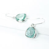 Short Glass Briolette Earrings - Silver