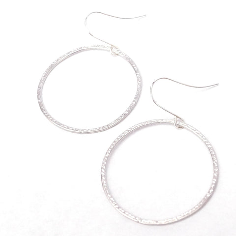 Matte Round Hammered Hoop Earrings