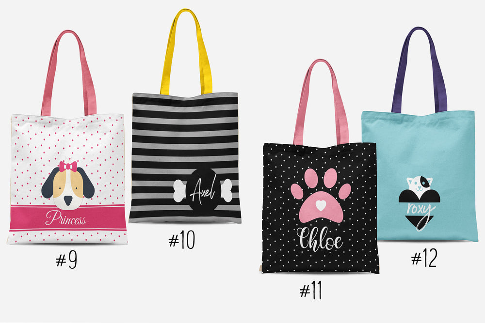 Personalized Pet Tote Bags, Custom Dog & Cat Tote Bags, Monogram Pet Gift, Unique Pet Lover Present