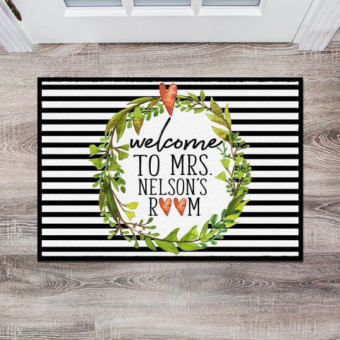 Personalized Teacher Classroom Floor Mat, Custom Teacher Classroom Gift, Classroom Decor, Teacher Present, Monogram Teacher Gift, Door Mat