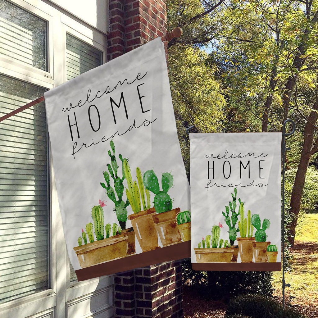Welcome Flags, House Flags, Garden Flags, Porch Flags, Yard Flags, Farmhouse Rustic Chic, Succulents, Cactus, Desert Design Outdoor Decor