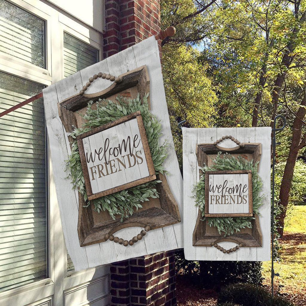 Welcome Garden Flag, House Flag, Garden Flags, Porch Flags, Yard Flags, Farmhouse Rustic Chic,  Floral Wood Design Outdoor Decor