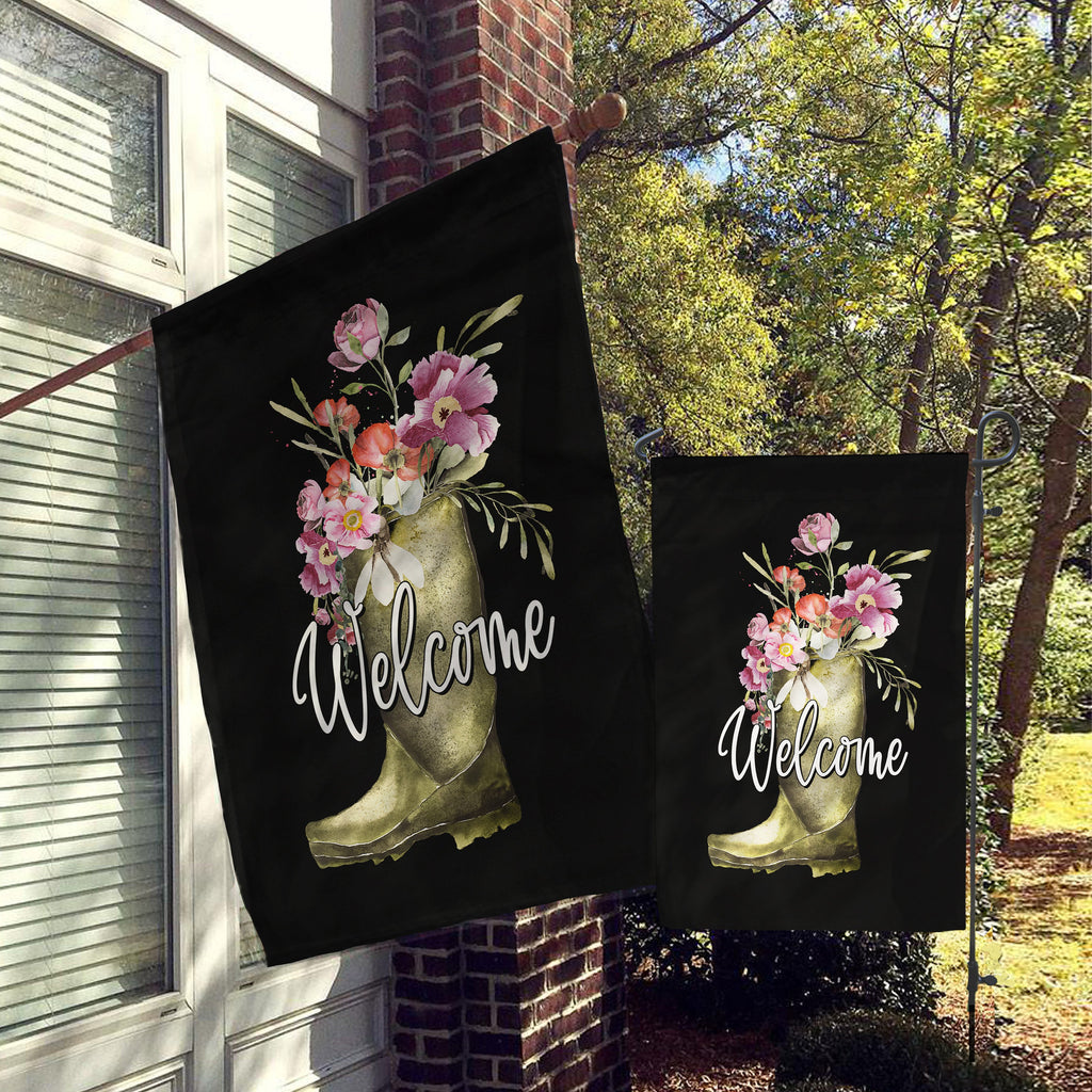 Welcome Garden Flag, House Flag, Garden Flags, Porch Flags, Yard Flags, Farmhouse Rustic Chic, Farmhouse Rain Boot Floral Decor