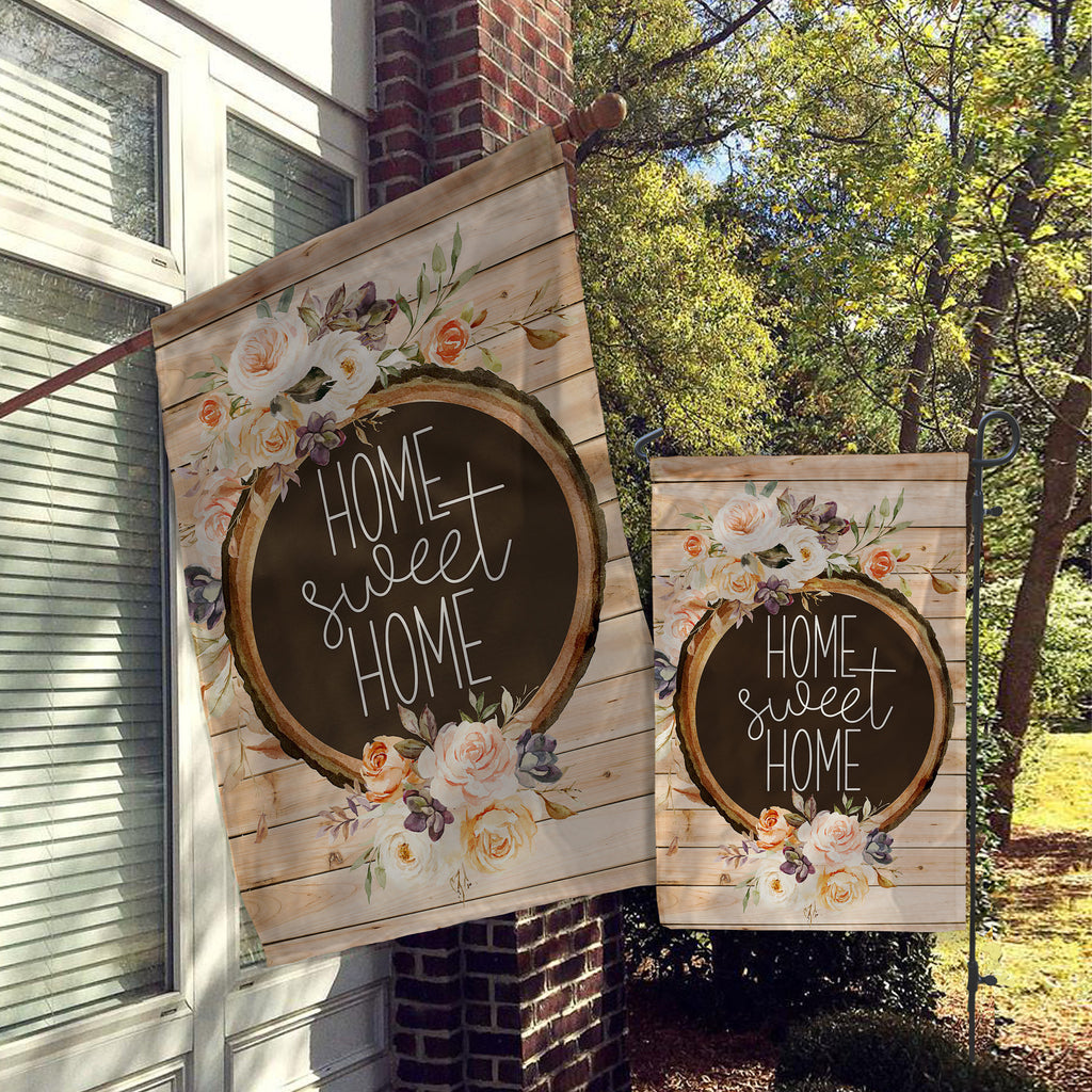 Welcome Garden Flag, House Flag, Garden Flags, Porch Flags, Yard Flags, Farmhouse Rustic Chic, Faux Wood Florals Outdoor Decor