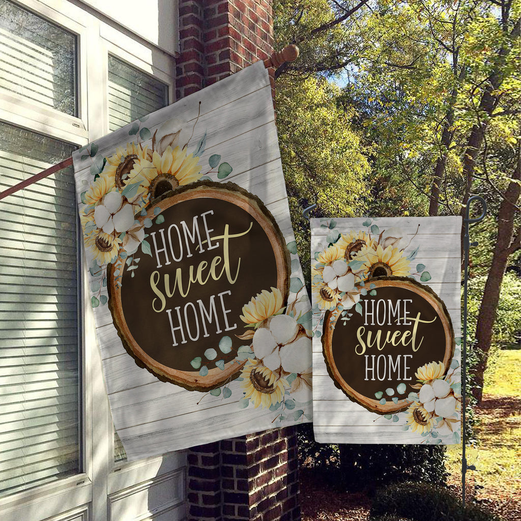 Welcome Garden Flag, House Flag, Garden Flags, Porch Flags, Yard Flags, Home Sweet Home, Faux Wood Sunflowers Outdoor Decor