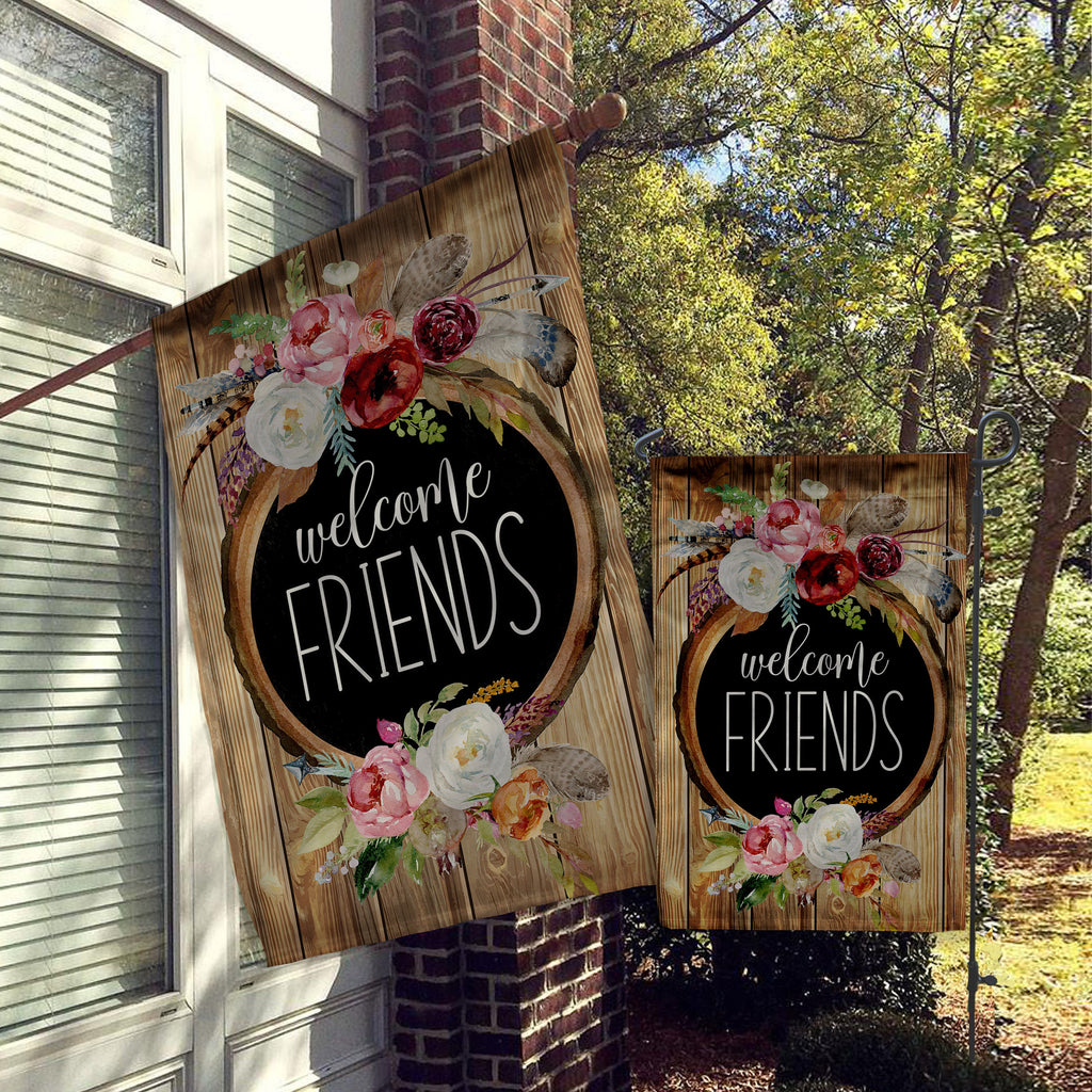Welcome Garden Flag, House Flag, Garden Flags, Porch Flags, Yard Flags, Welcome Friends Wood and Bright Flowers, Outdoor Decor