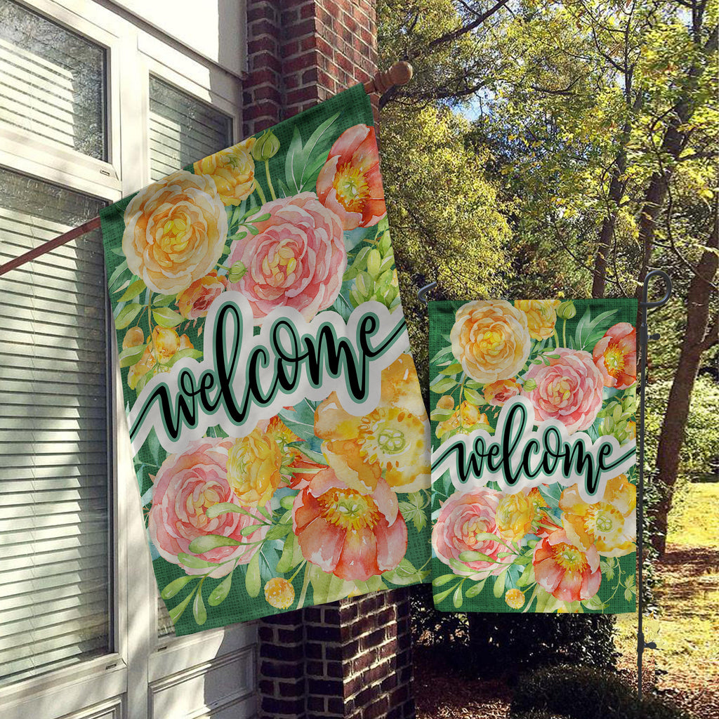 Welcome Garden Flag, House Flag, Garden Flags, Porch Flags, Yard Flags, Farmhouse Rustic Chic, Bright Spring Floral Greens Outdoor Decor