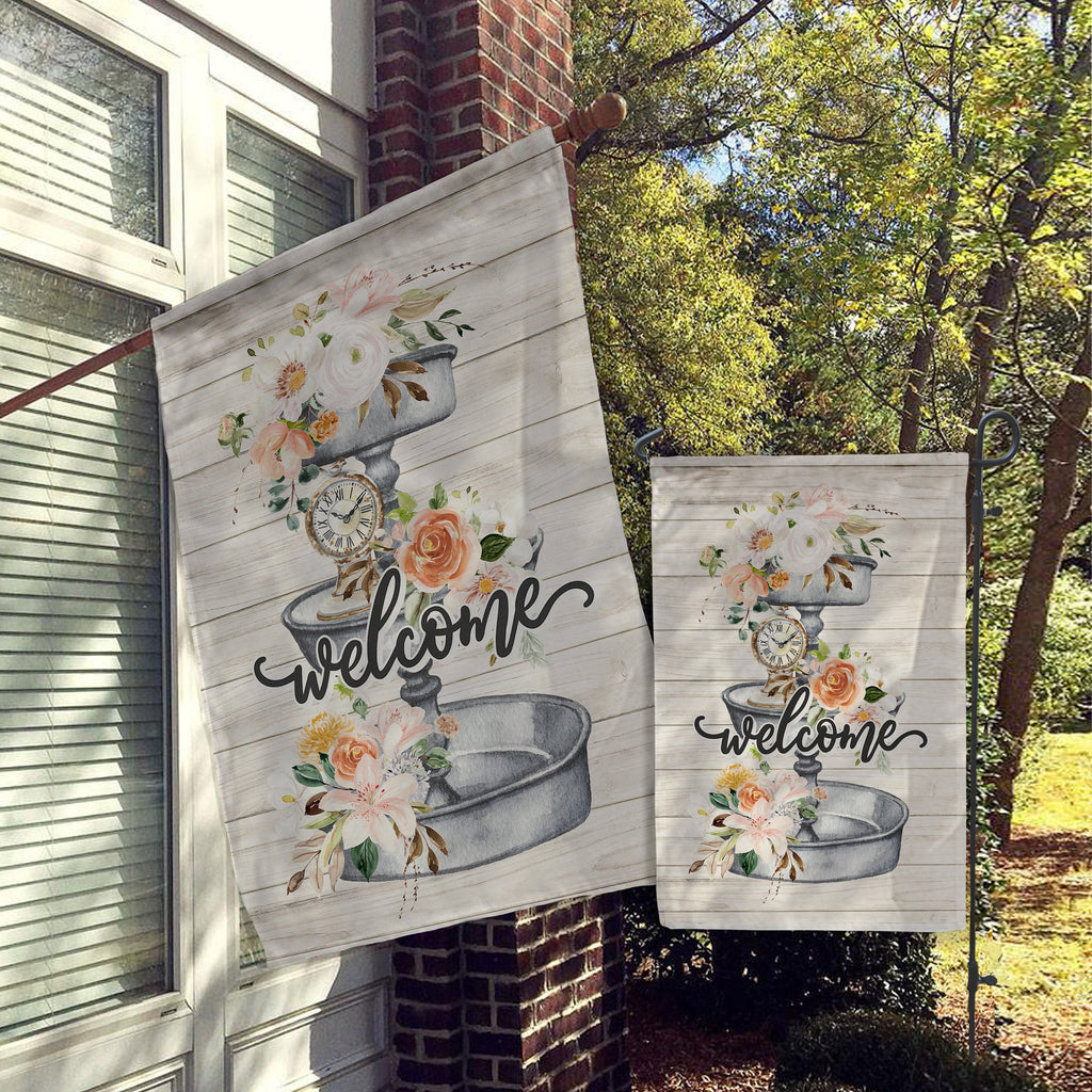 Welcome Garden Flag, House Flag, Garden Flags, Porch Flags, Yard Flags, Farmhouse Rustic Chic, Faux Wood Metal Florals Outdoor Decor