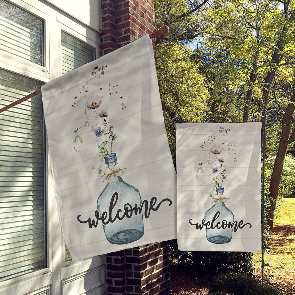 Welcome Garden Flag, House Flag, Garden Flags, Porch Flags, Yard Flags, Farmhouse Rustic Chic, Faux Light Wood Vase Florals Outdoor Decor