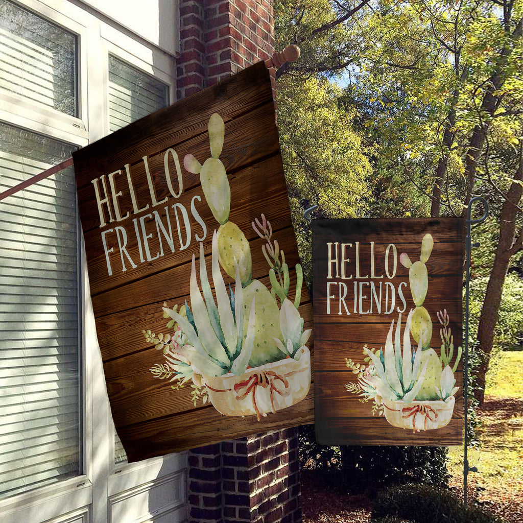 Welcome Garden Flag, House Flag, Garden Flags, Porch Flags, Yard Flags, Hello Friends, Cactus Desert Succulent Faux Wood, Outdoor Decor