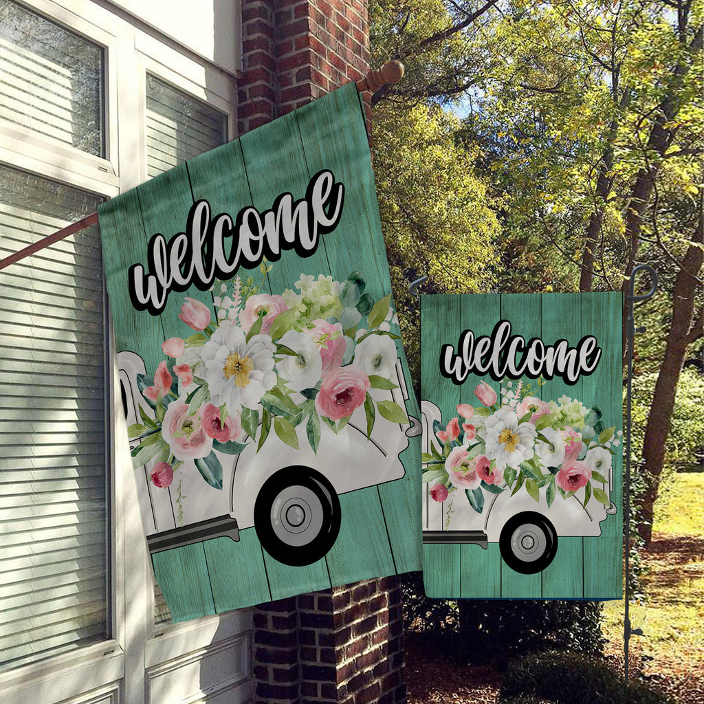 Welcome Garden Flag, House Flag, Garden Flags, Porch Flags, Yard Flags, Welcome Friends Vintage Truck with Flowers, Outdoor Decor