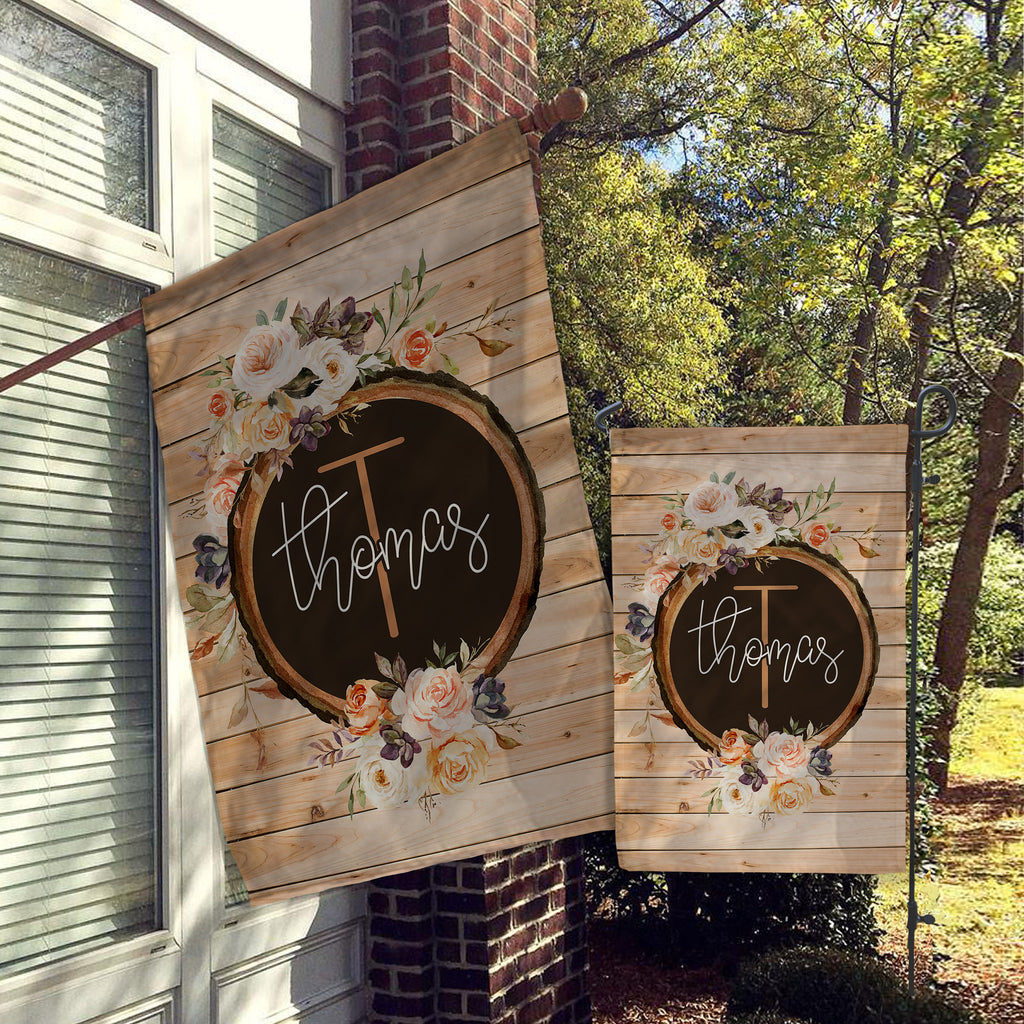 Personalized Flag, Welcome Garden Flag, Welcome House Flag, Farmhouse Garden Flag, Rustic Country Decor, Yard Decor, Faux Wood and Flowers