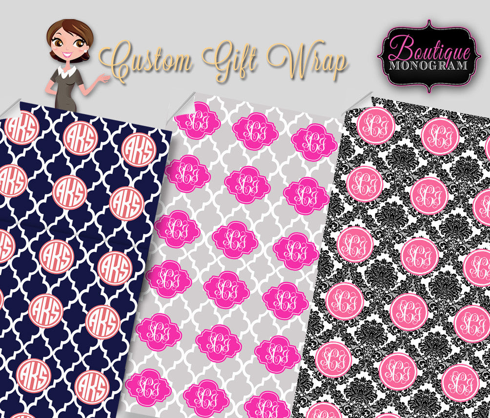 custom monogrammed personalized gift wrap paper boutique monogram