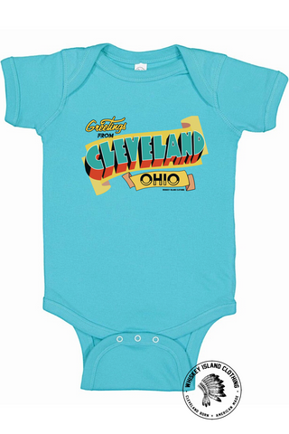 Greetings From Cleveland Onesie - Whiskey Island Clothing