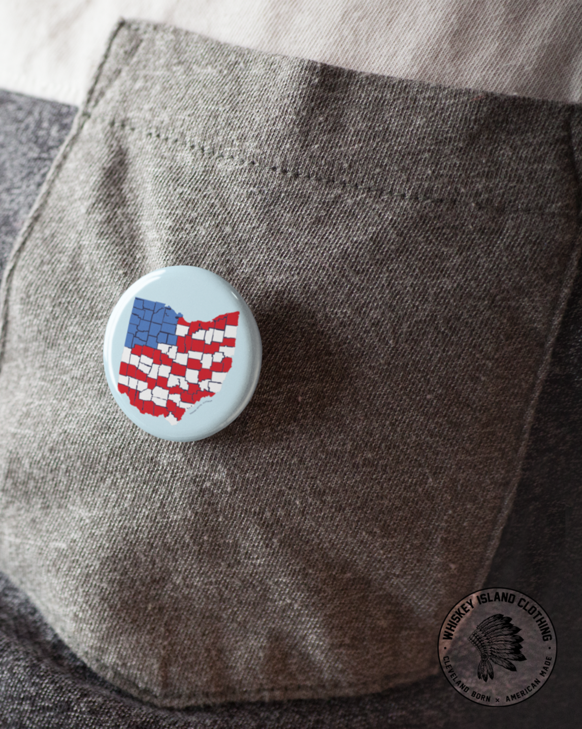 Ohio Counties Flag Button - Whiskey Island Clothing